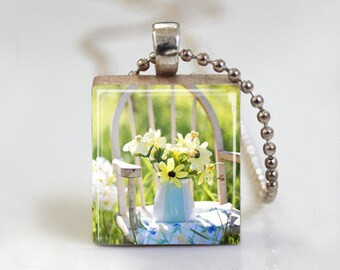 Countryside Daisies Vintage Chair - Scrabble Pendant Necklace with Free Ball Chain Necklace or Key Ring