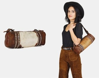 CALF HAIR Leather STUDDED Shoulder Duffle Bag Vtg 70's Small Cognac Brown Distressed Worn In Southwestern Country Cow Travel Paneled Handbag