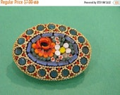 Oval Micro Mosaic Tile Brooch Italy
