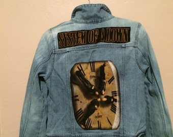 SALE System Of A Down touring band T-shirt patch on denim trucker jacket
