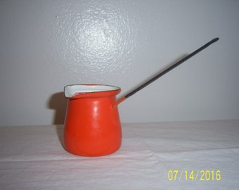Enamelware Turkish Coffee Pot - Pouring Cup - Butter Warmer - Chocolate Melter - Ladle - Scoop - Tea Pot -  Enamel  -  Made In Yugoslavia