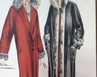 1920's Vintage French Fashion print taken from Manteaux et Costumes