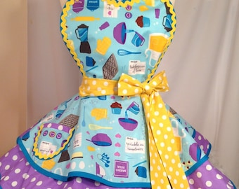 Retro Apron, Baked With Love Baking Pin Up Diner Apron - Ready To Ship