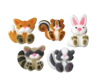 Woodland Animals Sugar Decorations Toppers Cupcake Cake Cookies Birthday Favors Party 12 Count