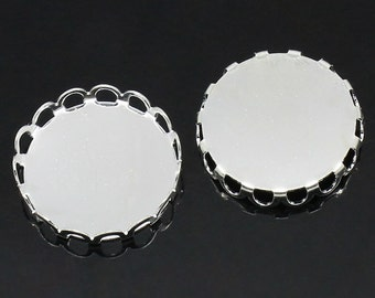 10 Silver Plated Metal Cabochon Bezels, filigree bezel tray setting frame, fits 18mm round cabochon, fin0604