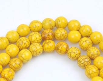 4mm Synthetic Howlite Stone Beads ROUND Ball, LEMON YELLOW how0232