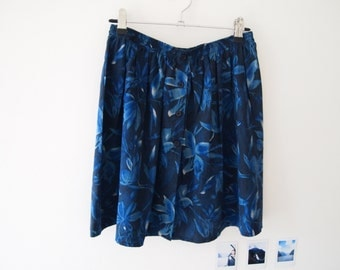 Vintage Silk High Waisted Floral Button Up Skirt Blue And Black 90s