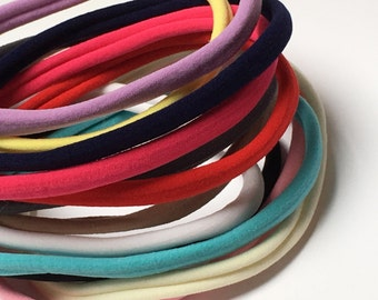Nylon Skinny Headbands - Pack of 5 - 22 colours to choose from