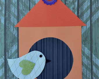 "Handmade Original Paper Collage - 12"" x 12"" - Bird and Birdhouse - Mixed Media Collage 2016-11"