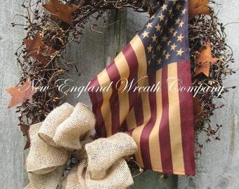 FALL SALE Americana Wreath, Patriotic Wreath, Fall Wreath, Primitive Americana, Patriotic Country, Veteran's Day Wreath, Tea Stained Flag Wr