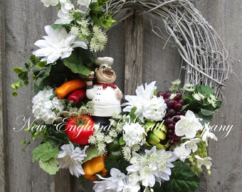 FREE SHIP THRU 12/12/16, Floral Wreath, Kitchen Wreath, Italian Chef Wreath, Designer Wreath, Whimsical Cook Decor, Dining Room Decor