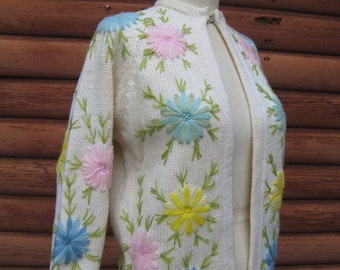 Gorgeous Vintage Virgin Wool Cardigan Sweater with Hand Embroidered Flowers by Fully Fashioned