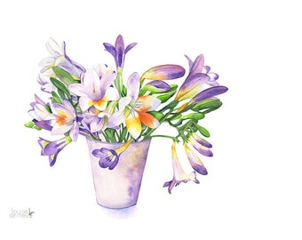 Freesias Original watercolor painting. Original watercolor flower painting. Freesia Original painting. Original Botanical watercolor