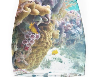 Coral Reef Skirt, Trendy Clothing, Nautical, Coastal, Ocean, Underwater Skirt