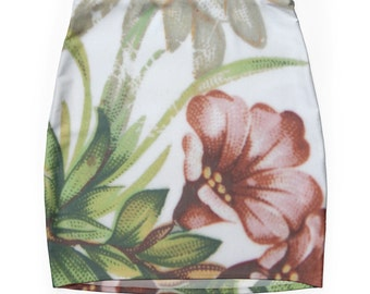 Floral Print skirt, Bodycon, Fitted Skirt, Flower Skirt, Vintage Inspired