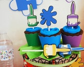 Art Paint Party Cupcake Toppers In Your Choice of Color Qty 12