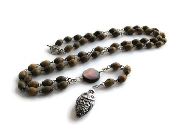 Owl and Moon Vintage Rosary Necklace for Men or Women