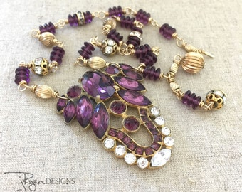 Purple Rhinestone Assemblage Necklace - Repurposed Rhinestone Dress Clip Necklace - One of a Kind Assemblage Jewelry