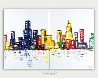 Original Chicago Abstract art- Urban Modern painting -Textured Painting- Home decor oil on canvas- Chicago Two Canvas Skyline