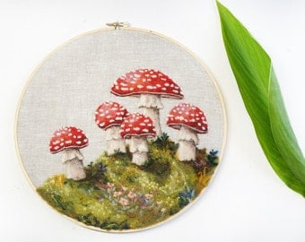 Woodland Toadstool 24 - Needle Felted Wool Painting Hoop - 9""