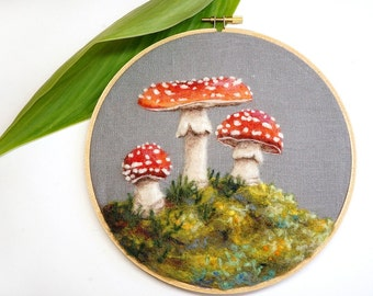 Woodland Toadstool 25 - Needle Felted Wool Painting Hoop - 7""