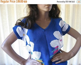 on sale Flowered Sweater Short Sleeved Blue Vintage Koret Small 80s Sweater 1980s Clothing