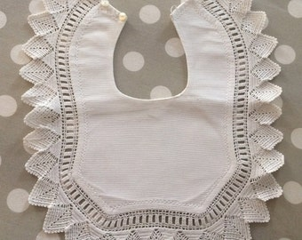 antique french  baby bib in white coton piqué