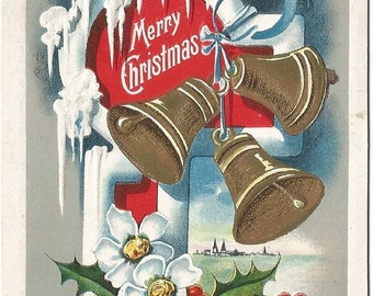 Gold Christmas Bells Ice Cycles and Holly decorate this  Vintage Postcard Vintage Christmas Card 100 Year old! Greeting Card
