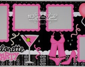 2 Premade Scrapbook Pages 12x12 Layout Paper Piecing Bachelorette Party Wedding Handmade 72