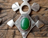 Niger Tuareg shiny  hand engraved green agate pendant