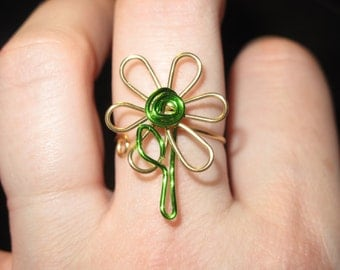 Wire Wrapped Two Color Flower Ring MADE to ORDER