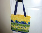 Cute HANDMADE QUILTED PERSE Handbag Tote - fully lined, 2 inside pockets, in shades of Blue & Yellow