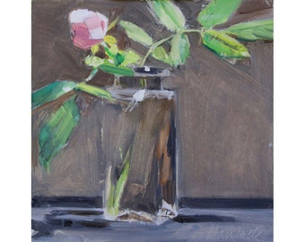 Rosebud on Dark Gray -Bud Vase Painting - A rose for someone you love