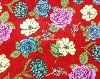 Rose dogwood and hydrangea, red, 1/2 yard, pure cotton fabric