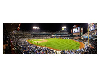New York Mets, Citi Field, Postseason Baseball, Panoramic Photograph, 2015 NLCS, Mets versus Cubs, fans, Flushing, NYC, Stadium Print