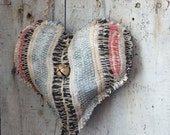 Primitive Hanging Heart, Rag Rug Heart, Shabby Cottage Chic,Farmhouse Decor, Rustic Valentine