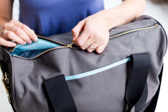 Gym weekender duffel bag in black grey aqua blue by Maltby