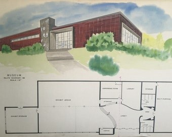 Mid Century Modern Student Architectural Drawing