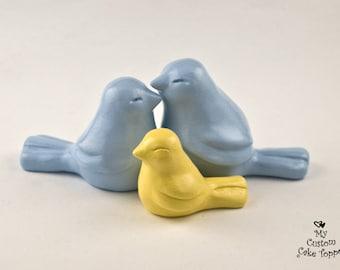 Simple Love Birds Family Wedding Cake Topper