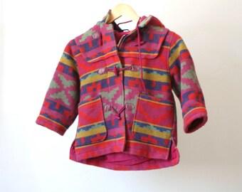 vintage KIDS hoodie TODDLER southwest ikat FLEECE jacket coat parka hoodie