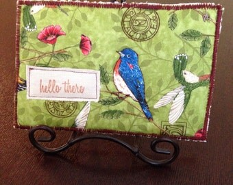 Hello Birdie Quilted Post Card