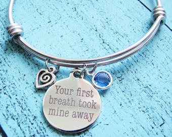 gift for mom personalized new mom gift, birthstone jewelry, mothers jewelry mom bracelet, baby shower gift, your first breath took mine away