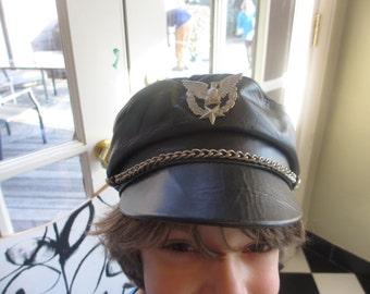 Vintage Black Leather Motorcycle Hat