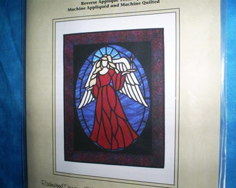 Stained Glass Angel Scene 28 X  35 inches.