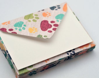 Paw Print Mini Cards // Set of 4 // Blank Cards // Enclosure Cards // Gift Card Envelopes // Party Favor // Love Note // Lunchbox Notes