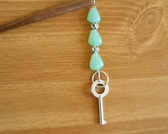 Moth Wings - seafoam green glass and silver hairstick with handcuff key