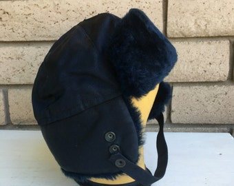 50s 60s Black Faux Fur Bomber Trapper Hat . Fargo Hat XL 7 3/4