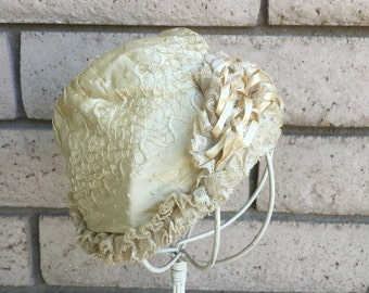 Antique 1920's Silk Infant Christening Cap Bonnet