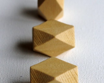 Wooden Geometric Polyhedron Faceted Bead x3 - Natural Wood - Large 26mm