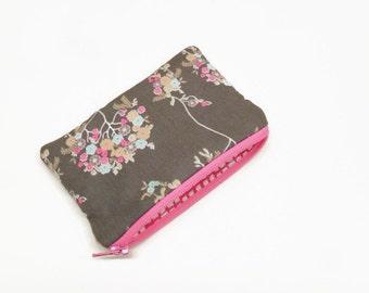 change purse coin purse zipper pouch zipper bag little flowers on gray